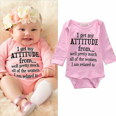 Pink Newborn Baby Girl Boy Bodysuit Romper Jumpsuit Playsuit Outfits 0-18 Mouths