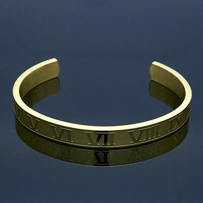 Mens Womens Stainless Steel 6mm 8mm Roman Numerals Cuff Bangle Bracelet #B304