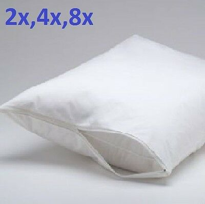 2x 4x 8x Pillow Protector Covers with Zipper Opening Standard 46 X 70cm