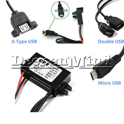 DC Converter 12V Step down to 9/5/6V 2A 15W Mini/Micro/Double USB Power Adapter