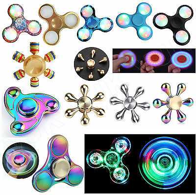 Fidget Finger Spinner LED Hand Focus Spin Aluminum Bearing Stress Toy Rainbow UK