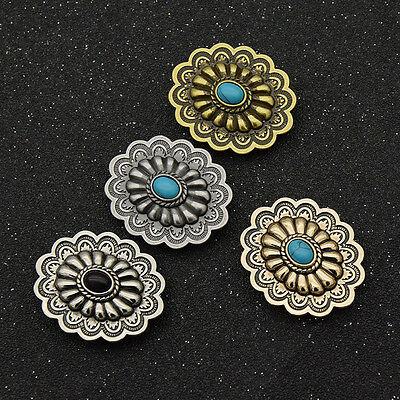 1 Pc DIY Flower Conchos Buttons Retro Western Belt Bag Decor Screwback Sewing