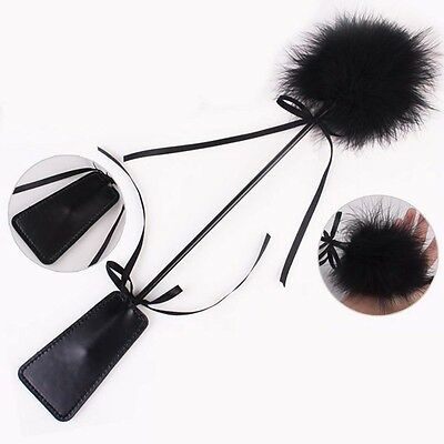 1pc Whip Feather + Leather Style Flirt Tickler Foreplay Toy Cosplay Black Whip