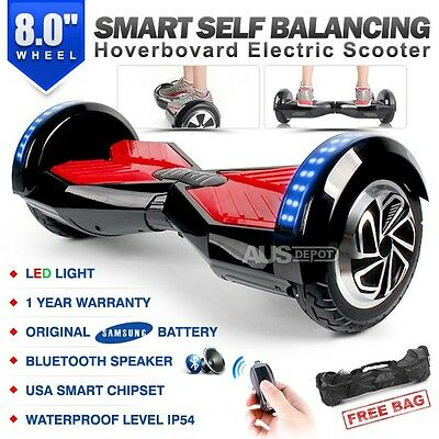 "8.0"" Two Wheel Black Bluetooth Smart Self Balancing Electric Scooter Hoverboard"