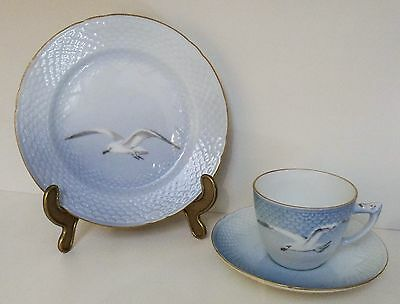 "Vintage Bing And Grondahl ""seagull"" Coffee Set Including Sidedish Golddec.-Edges"