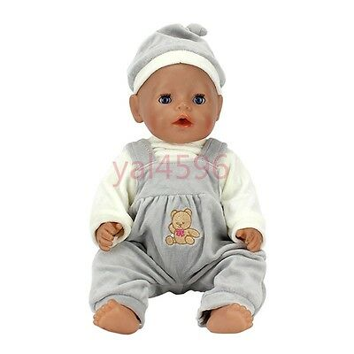 Gray overalls+white coat Wearfor 43cm Baby Born zapf (only sell clothes)