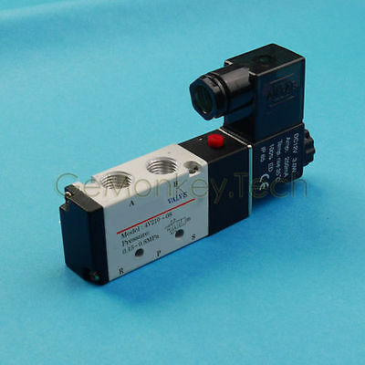 4V210-08 DC12V Pneumatic Air Valve Electric Solenoid Valve 5 Way 2 Position 1/4""