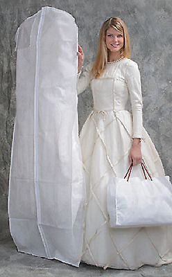 DELUXE Bridal White Wedding Gown Dress Coat Garment Bag with Gusset - With Sh...
