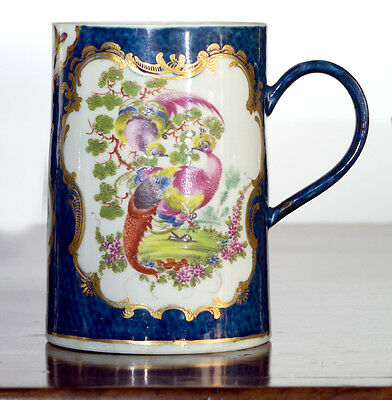Large Worcester scale blue tankard with birds, c.1770