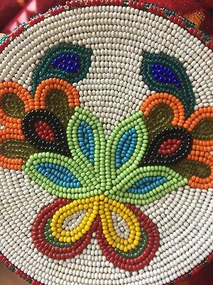 Antique Native American Floral Beaded Rosettes Dakota Sioux