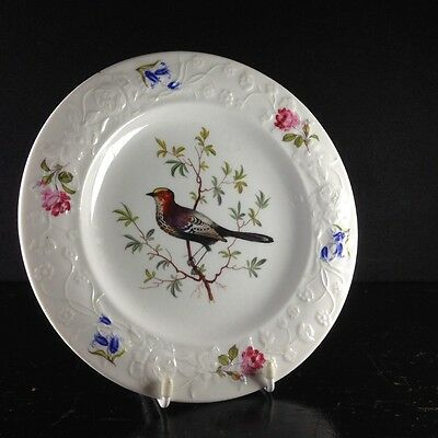 Swansea plate, flower moulded rim with bird, documentary high pattern number, c.