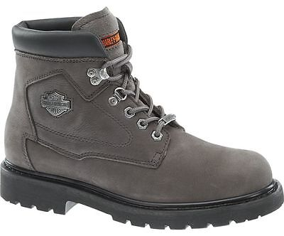 Harley Davidson BAYPORT Women/'s Motorcycle Lace Up Charcoal Grey Leather Boot