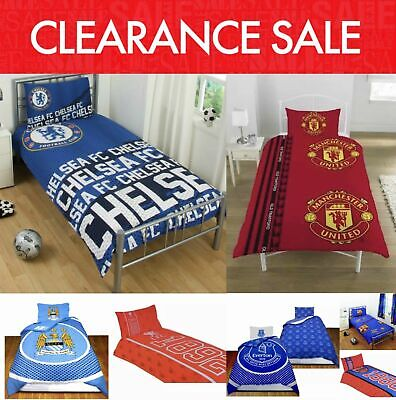 Clearance Football Club Kids Bedding Single Duvet Quilt Cover Bed Set REDUCED