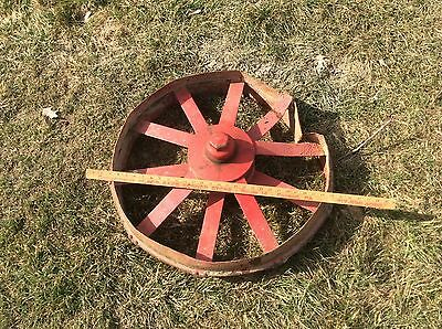 Vintage Antique Metal Wheel , Very Industrial Steampunk , Red , Damaged