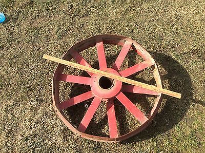 Vintage Antique Metal Wheel , Very Industrial Steampunk , Red ,
