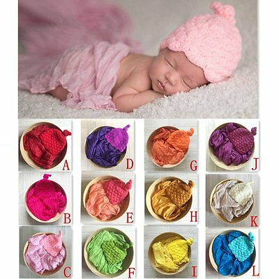 2pcs/set Newborn Infant Baby Boy Girls Swaddle Wrap+Cap Photography Prop Set
