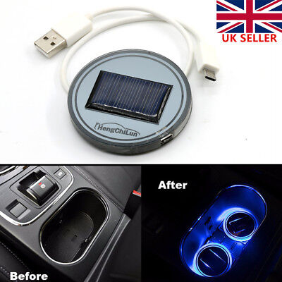 Solar Powered Car SUV Cup Holder Bottom Pad Mat Blue LED Light Cover Trim Lamp