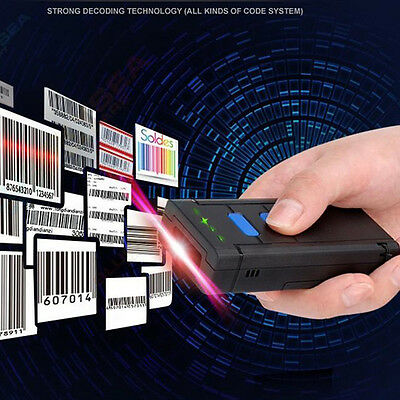 Mini Portable Laser Wireless Bluetooth Barcode Scanner Reader Fr IOS Android MAX