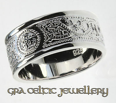 Sterling Silver Celtic Warrior Ring - MADE IN IRELAND - 10mm Wide Band - BEST