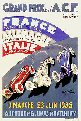 Vintage French 1935 Grand Prix de l'ACF Vintage Motor Racing Poster Art Deco