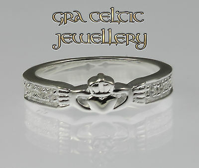 Stone Set Pave 925 Sterling Silver Claddagh Ring - MADE IN IRELAND