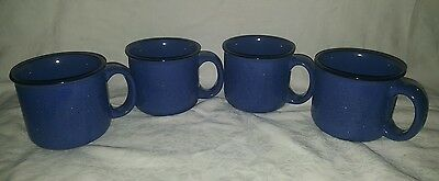 4 Vintage Marlboro Unlimited Blue Speckled Stoneware Coffee/Soup Mugs.16 oz.