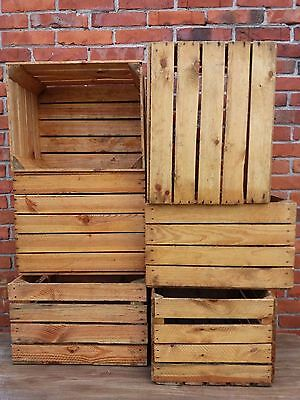 6 Strong&Solid Vintage Wooden Fruit Apple Crates Boxes Home Ground and Cleaned!