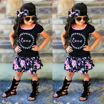 Girls Rose 3 piece skirt top headband set flower summer party wedding outfit 445