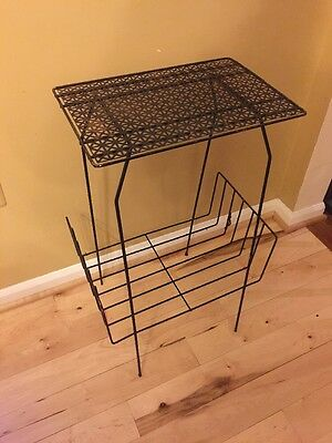 Vintage Mid Century Mesh Iron Telephone Side End Table 2 Tier