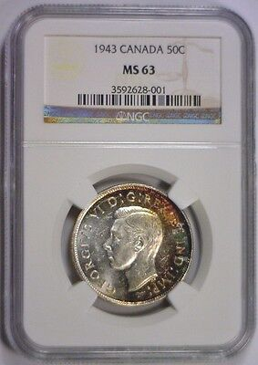1943 Silver Fifty Cent 50c CANADA Canadian Half Color Toned ~ NGC MS63 MS 63