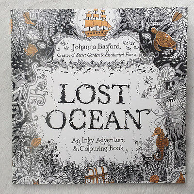 English Children Secret Garden Lost Ocean Treasure Hunt Coloring Painting Book