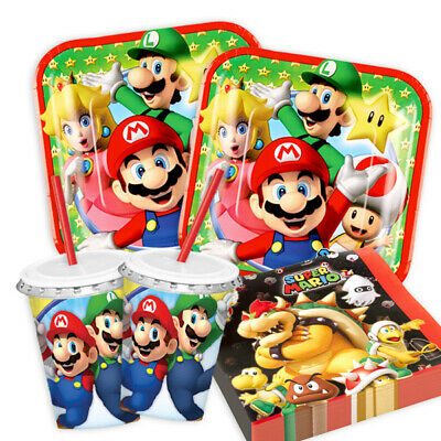 super mario 8 48 guest starter party pack cups plates napkins tablecover picclick uk. Black Bedroom Furniture Sets. Home Design Ideas