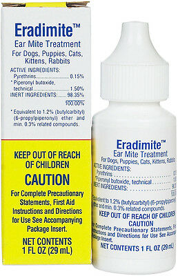 ZOETIS ERADIMITE Ear Mite Treatment Cats Dogs Rabbits