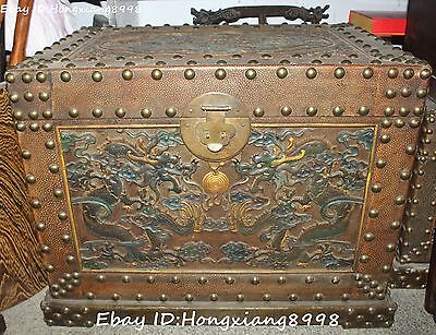 "23""Antique Wood Lacquerware Painting Dragon Paly Ball Treasure jewelry Box Chest"