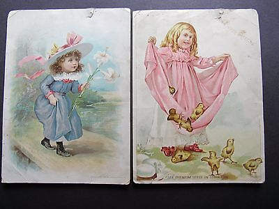 Lion Coffee Advertising 2 Victorian Easter Woolson Spice 1893 94 Chick Girl Lily