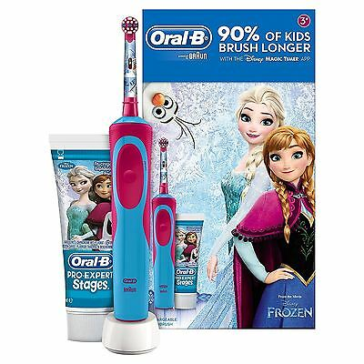 Oral-B Stages Power Kids Electric Toothbrush Disney Frozen Gift Set Toothpaste