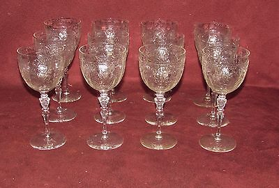 Set of 12 Old or Antique Cut Crystal Wine Glasses