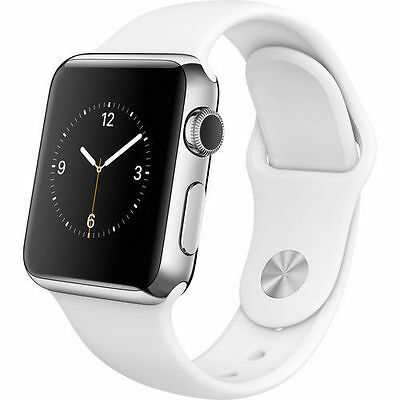 *NEW* Apple Watch Series 1 38mm Silver Aluminum Case White Sport Band MNNG2LL/A