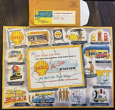 Cool Vintage SHELL Gas Service Station All Star Sweepstake Auto Car Puzzle Sign