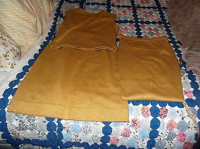 !960s Vintage Jantzen Gold Sparkle 3 Pc. Knit Set Top Skirt Pants Sz.M