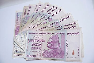 100 x 500 Million zimbabwe Circulated 2008 series AA/AB - /100 Trillion series