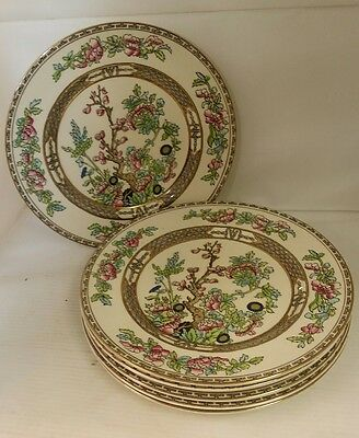 Vintage Alfred Meakin Bengal Tree 6 gold gilted salad/breakfast plates 22cm