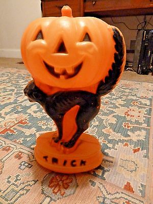 Vintage Halloween Blowmold Trick or Treat black cat Jack O Lantern Pumpkin