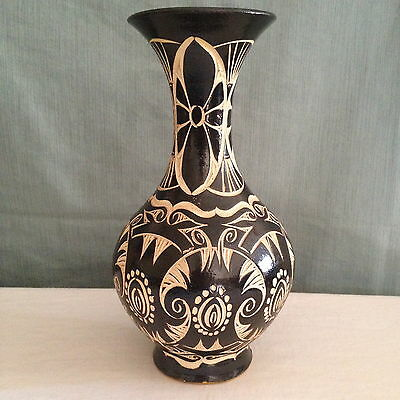 Antique Sgraffito Art Pottery Vase Vintage Incised South American Tribal Pattern