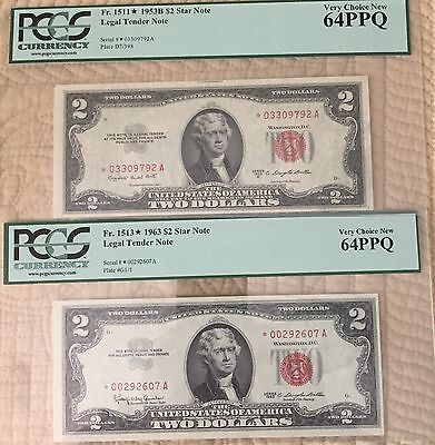 1953 & 1963 $2 Red Seal Star Notes PCGS 64