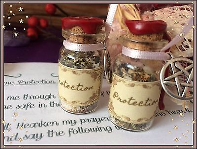 White Witchcraft Herb Spell Kit Bottle - For Home Protection - Wicca Pagan