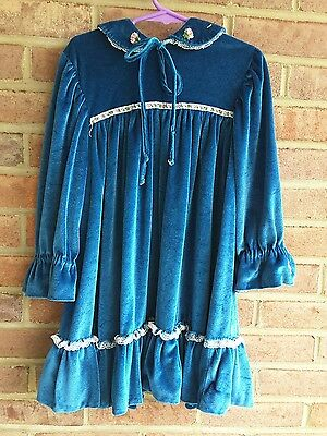 vintage girls teal  handmade long sleeve velour dress / gown size 6 years