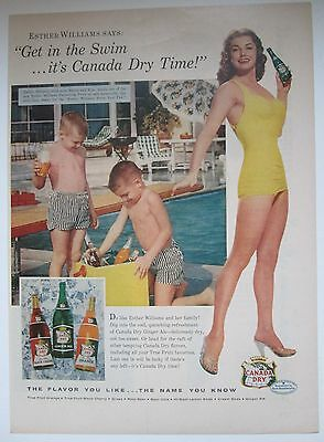 1956 Canada Dry Magazine Ad, Esther Williams yellow swimsuit, young boys in pool