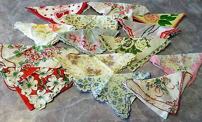 Lot Vintage Flower Print Hankies Handkerchiefs Women 14 Cotton Flowers