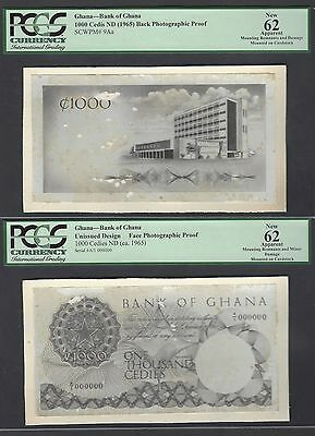Ghana 1000 Cedis ND 1965 Unissued Photograph Face - Back Proof
